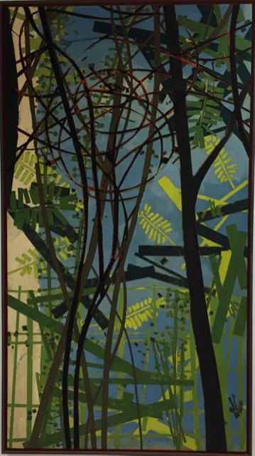 Rouseff oder Rousseau, Urban gardening, 2015, Mischtechnik auf Leinwand, 200x110 cm