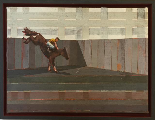Streethorsing II, 2007, Mischtechnik auf Leinwand, 30x40 cm